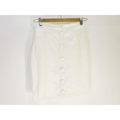 【中古】ティティー&コー TITTY&CO タイト スカート 膝丈 ミドル 白 ホワイト S レディース