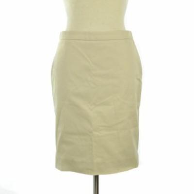 【中古】Salvatore Ferragamo ペプラムスカート ひざ丈 薄手 スリット コットン 38 ベージュ系 ECR2 レディース