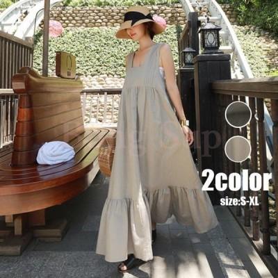 レディースサロペットスカート夏用40代マキシ丈綿麻ロングジャンパースカート大きいサイズフレアワンピース通勤ゆったりサロペット