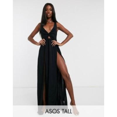 エイソス レディース ワンピース トップス ASOS DESIGN TALL tie back beach maxi dress with twist front detail in black Black