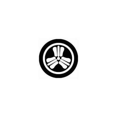 家紋シール 丸に三つ軍配団扇紋 直径24cm 丸型 白紋 KS24M-0563W