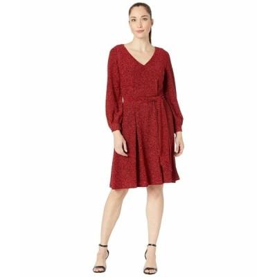カルバンクライン ワンピース トップス レディース Glitter Jersey Belted Dress  with V-Neck Red/Black