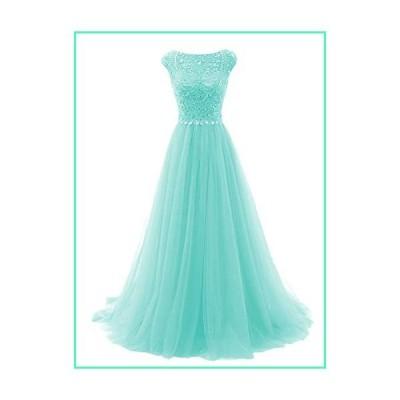 Promworld Women's Wedding Bridesmaid Dress Cap Sleeve Crystal Tulle Long Prom Dresses Aqua US4並行輸入品