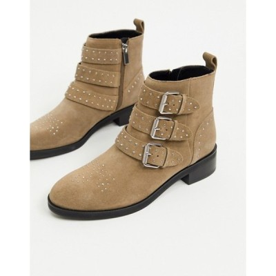 プルアンドベアー レディース ブーツ・レインブーツ シューズ Pull&Bear suede buckle boots in taupe