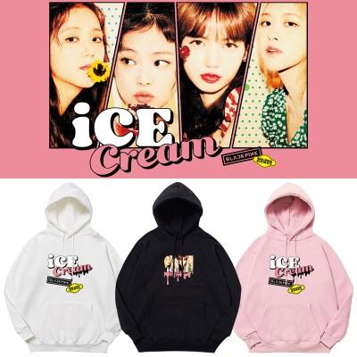 BLACKPINK週辺 Ice Cream  フードスウェット 韓国ファッション 男女兼用 トップス厚手(裹起毛)パーカー