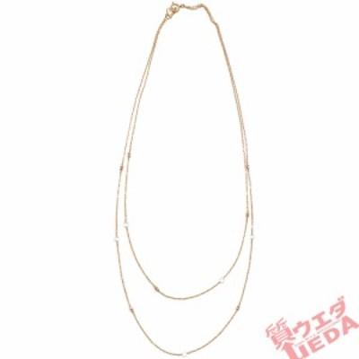 【天白】ジュエリー 高級 ネックレス K18PG 750 ピンクゴールド ダイヤ 5石 0.4ct 二連 約45cm