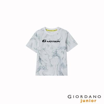 GIORDANO 童裝冰氧吧涼感抗菌T恤 - 02 大理石紋白