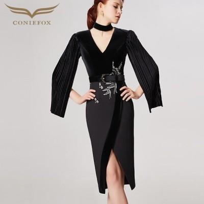 【CONIEFOX】高品質★Vネックプリーツビーズベルトスリット長袖付きタイトライン膝丈ドレス♪ブラック 黒 ワンピース