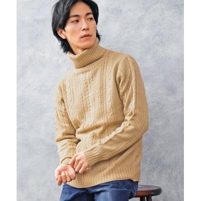 【トップイズム】 ケーブル編みタートル&クルーネックニットセーター メンズ ベージュ系1 L TopIsm