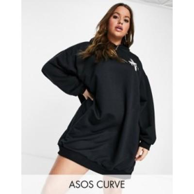 エイソス レディース ワンピース トップス ASOS DESIGN Curve oversized mini sweatshirt hoodie dress in black with ocean drive miami