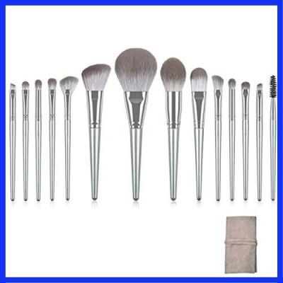 メイクブラシ 14本セット 超柔らかい 化粧筆 木製ハンドル レザーポーチ付き 人気メイク道具セット (シルバ
