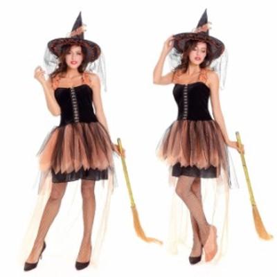 ハロウィン 魔女 デビル 小悪魔 魔法使い ウィッチ ワンピース 帽子付き パーティー イベント コスプレ衣装 ps3195