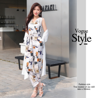 2F韓衣-時尚氣質幾何圖形腰綁帶吊帶褲(只有吊帶褲)-2色(M-XL)