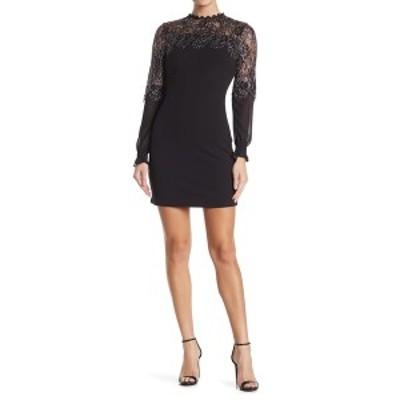 ケンジー レディース ワンピース トップス Metallic Lace Long Sleeve Sheath Dress BLACK/SILV