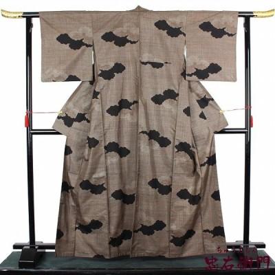 大島紬 中古 正絹 仕立て上がり カジュアル リサイクル 着物 袷 茶 雲取り シンプル 送料無料  あすつく対応 忠右衛門