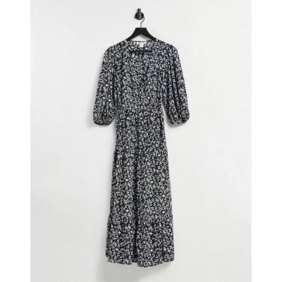グラマラス Glamorous レディース ワンピース Midi Wrap Dress With Tiered Skirt In Ditsy Vintage Floral