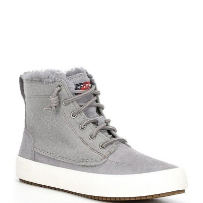 スペリー レディース スニーカー シューズ Crest Lug Faux Fur Lace-Up High Top Sneakers Grey