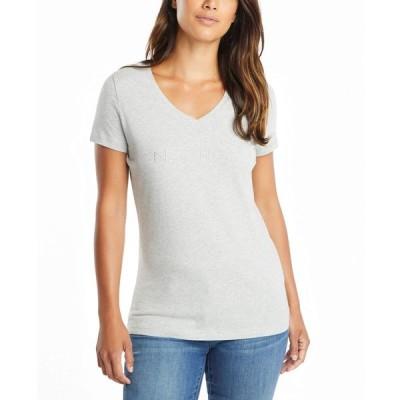 ノーティカ Nautica レディース Tシャツ トップス Easy Comfort Supersoft 100% Cotton Classic Logo T-shirt Grey Heather
