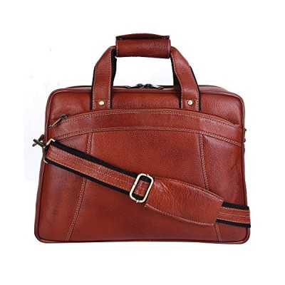 HiLEDER Premium Leather Briefcases - Indian Handmade Leather 15 Inch Laptop Bags for Men and Women Business Executives - Tan 並行輸入品