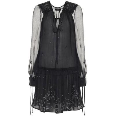 アミリ Amiri レディース ワンピース ワンピース・ドレス Printed silk-chiffon minidress Black