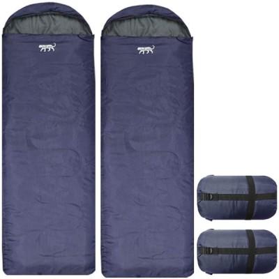 【kot.aro】 寝袋 2個セット シュラフ 封筒型 コンパクト収納タイプ +5℃ 1000g (ネイビー)