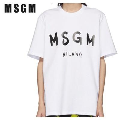 MSGM エムエスジーエム ホワイト & ブラック アーティスト ロゴ T シャツ 191443M213019