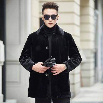 ムートンコート メンズ ムートンジャケット ロング アウター ビジネスコート おしゃれ 無地 暖かい 大きいサイズ 冬