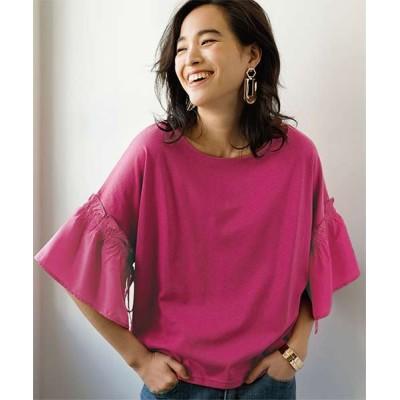 【ラナン】 袖異素材切替デザインTシャツ レディース ピンク L Ranan