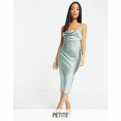 ヴァイオレット ロマンス Violet Romance Petite レディース ワンピース スリップドレス ワンピース・ドレス Satin Slip Dress In Sage G