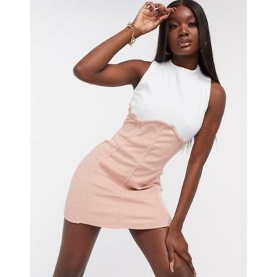 パブリックデザイア レディース ワンピース トップス Public Desire bodycon mini dress with contrast mini seam