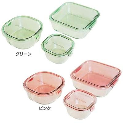 保存容器 ガラス 密閉 おしゃれ iwaki 角型3点セット PSC-PRN3G1 AGCテクノガラス(株) (D)