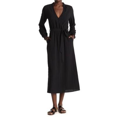 オールインフボール レディース ワンピース トップス Long Sleeve Tie Waist Midi Dress BLACK