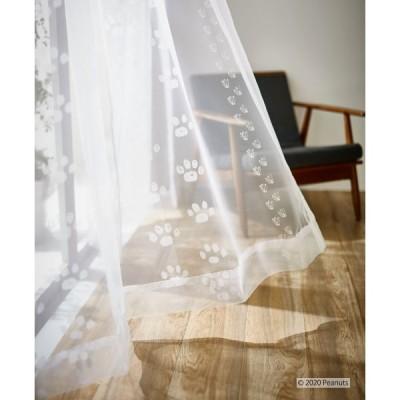 ピーナッツ スヌーピー レースカーテン(1枚)100×176 Footprint voile フットプリントボイル(ホワイト)P1032ウォッシャブル日本製