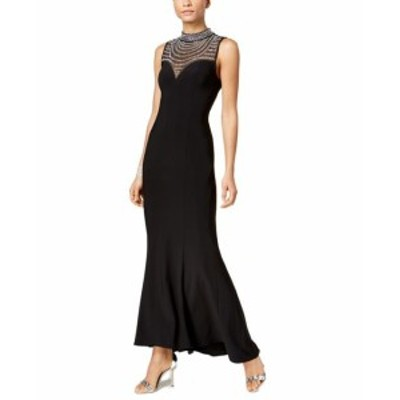 Vince ヴィンス ファッション ドレス Vince Camuto NEW Black Womens Size 10 Embellish Illusion Gown Dress