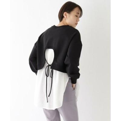 AG by aquagirl/エージー バイ アクアガール 裏毛シャツドッキングトップス【WEB限定サイズ】 ブラック(519) 38(M)