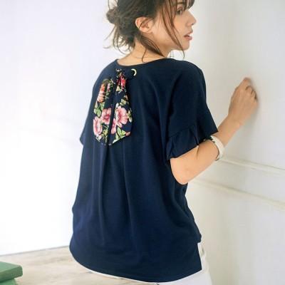 Ranan ラナン ハトメ使い後リボンTシャツ