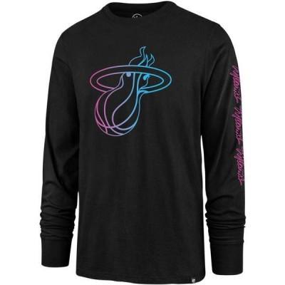 フォーティーセブン メンズ Tシャツ トップス '47 Men's 2020-21 City Edition Miami Heat Rival Long Sleeve Black T-Shirt