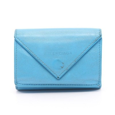 バレンシアガ BALENCIAGA ペーパーミニウォレット コンパクトウォレット 三つ折り財布 レザー ブルー 391446 レディース 中古