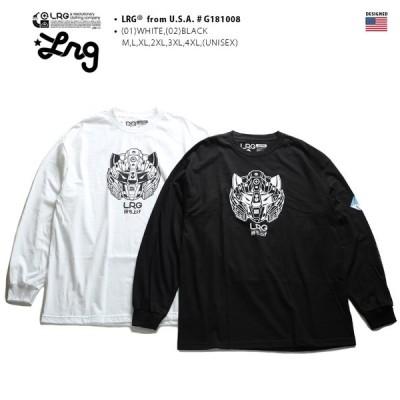 エルアールジー LRG ロンT メンズ レディース Tシャツ 長袖 かっこいい おしゃれ 袖プリント ロボットアニメ 白黒 アメカジ 大きいサイズ