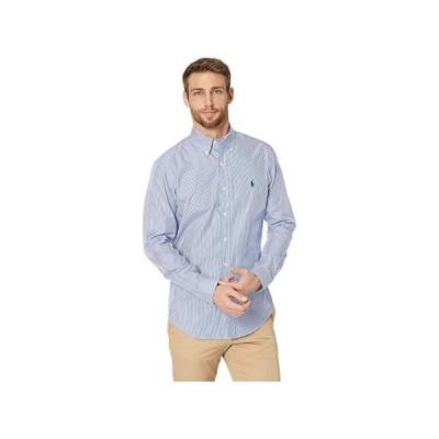 ポロ・ラルフローレン Slim Fit Poplin Stretch Sports Shirt メンズ シャツ トップス Blue/White Hairline Stripe