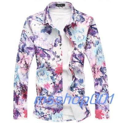 カジュアルシャツ 長袖 ワイシャツ メンズ 花柄シャツ 長袖 アロハシャツ メンズシャツ 金糸 大きいサイズあり 春 夏 秋