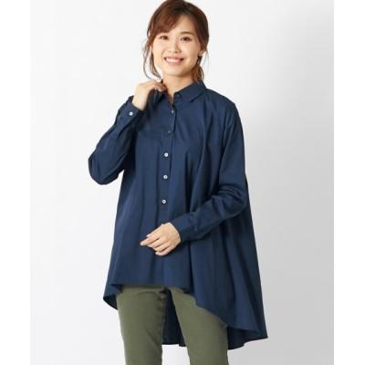 【大きいサイズ】 綿100%イレギュラーヘムシャツチュニック(オトナスマイル)  plus size shirts, テレワーク, 在宅, リモート