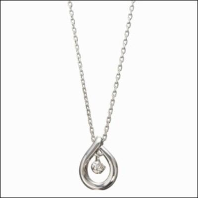 4℃ ヨンドシー 0.035ctダイヤモンド スターリングシルバーPTコーティングドロップネックレス