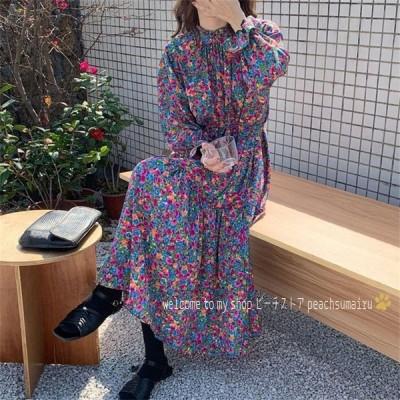 レディースワンピース40代キレイめ春夏マキシワンピース花柄長袖ワンピースパフスリーブシフォンワンピースオシャレ結婚式ドレス