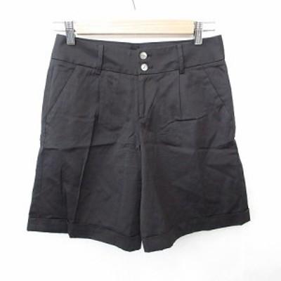 【中古】デプレ DES PRES トゥモローランド ショートパンツ ポケット タック ストレッチ 綿 黒 ブラック 0 レディース