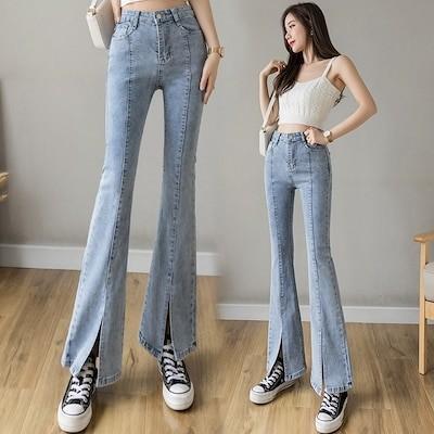 ハイウエストスプリットエンドジーンズの女性のフロントスプリットストレッチは薄く細い足の広い水色のフレ