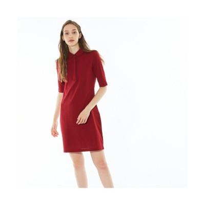 【ラコステ】 スリムフィットポロシャツドレス(5分袖) レディース ローズ 34(S) LACOSTE