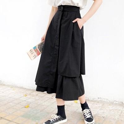 アシンメトリー デザイン スカート 個性的 きれいめ 清楚 韓国スタイル 韓国スタイル デイリー  送料無料