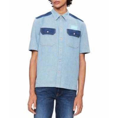 Calvin Klein カルバンクライン ファッション アウター Calvin Klein Mens Blue Size Large L Colorblock Uniform Button Up Shirt