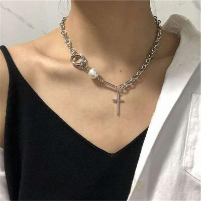 ヴィンテージ ファッション 模造 真珠 クロス ペンダント 女性 ガールレトロ人格分厚い チェーン neckklaceステートメント ジュ